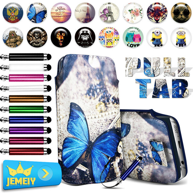For Alcatel One Touch Flash 2 Case Luxury Print PU Leather Pull Tab Sleeve Pouch Bag Cubot X17 X16 X9 Phone Case Middle Size