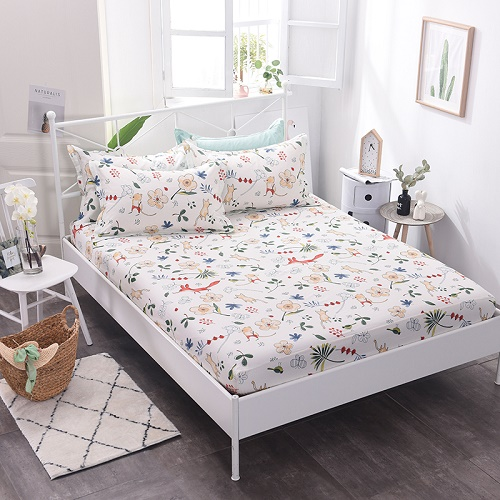 (New On Product) 1pcs 100% Cotton Printing bed mattress set with four corners and elastic band sheets(pillowcases need order) 15