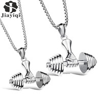 Jiayiqi Fashion Stainless Steel Dumbbell Hand Pendant Choker Necklace Collares Women Collar Rock Men Trendy Jewelry
