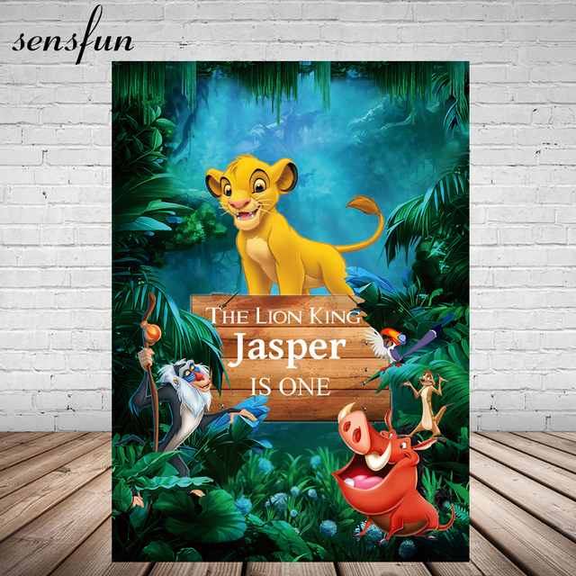 Sensfun Forest Cartoon Lion King Photography Backdrop For Photo Studio Boys 1st Birthday Party Backgrounds Customized 5x7ft