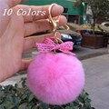 Реальные Кролика Рекс Pom Pom Мяч Брелки Пушистые Розовые Помпоны Брелки Кольца Llaveros Красочные Помпоном Для Женщин Charm On Bag