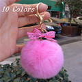 Real Rex Rabbit Fur Pom Pom Ball Keychains Fluffy Pink Pompons Key Chains Rings Colorful Pompom Llaveros For Women Charm On Bag