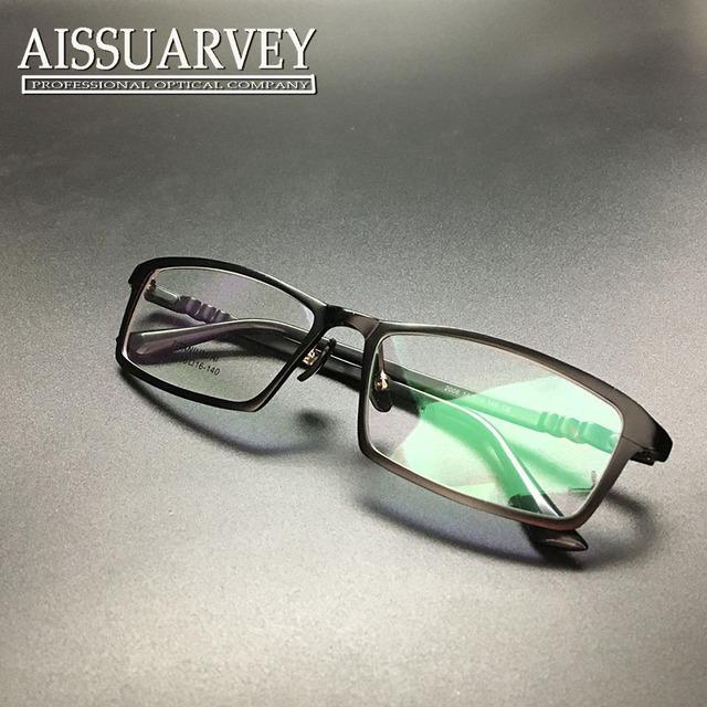 Hombres gafas de marco marco de anteojos ópticos completos anteojos recetados borde negro de moda guapo chico sencillo cuadrado ultralight titanium de aluminio