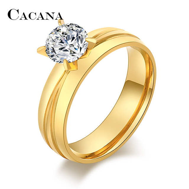 CACANA Titanium Stainless Steel Rings For Women With Notch Fashion Jewelry Whole