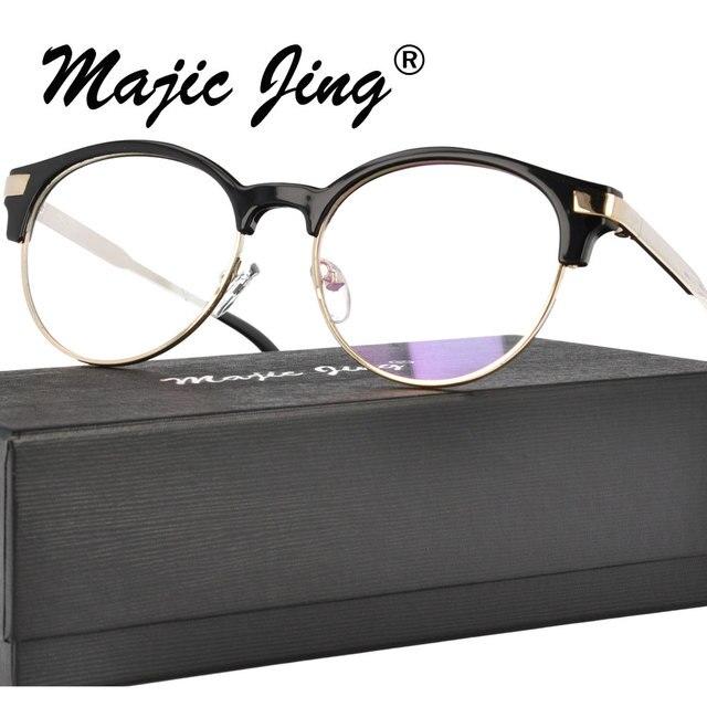 Plastic and metal Round Glasses Frame Men Women Vintage Prescription ...