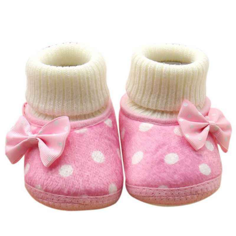 Baby Shoes Newborn Baby Girl Bowknot Fleece Snow Boots Booties White Princess Shoes Pink Purple Red Winter Warm Shoes