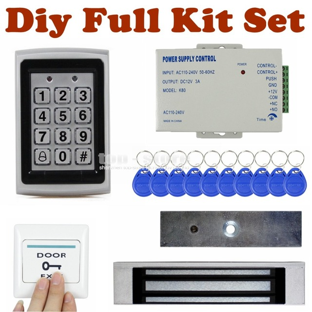 DIYSECUR Full Kit Set 125KHz RFID Metal Case Keypad Door Access Control Security System Kit + 180KG magnetic Lock 7612