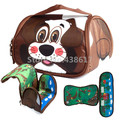 Cartoon Cute Pets Brown Dog Cow Blue Dolph Freezable Insulated Lunch Box Bag For Kids Children School Lunchbox Picnic Food Bags