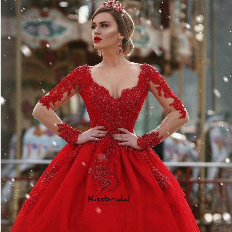 Newest Red   Evening     Dresses   Long Sleeve Appliques Lace 2018 Tulle Prom   Dress   Elegant Women Party Gown