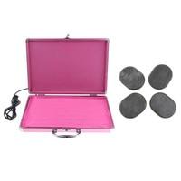Professional Electric Hot Lava Basalt Rock Heating Box Warmer Case with Black Natural Energy Massage Stone Set