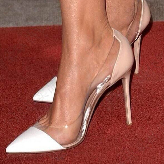 1244b8e6766 US $113.0 |2016 Socialite Transparant PVC Splice Pointed Toe High Heel  Wedding Pumps Nude Gianvito Ross Size 11 Heels Shoes For Women Cheap-in  Women's ...