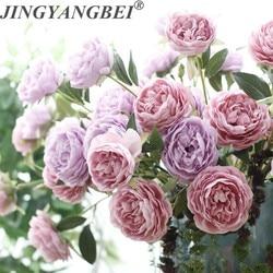 3 head Peony silk Artifical Flower branch Tea rose bouquet Home Decoration Fake Flower wedding flowers