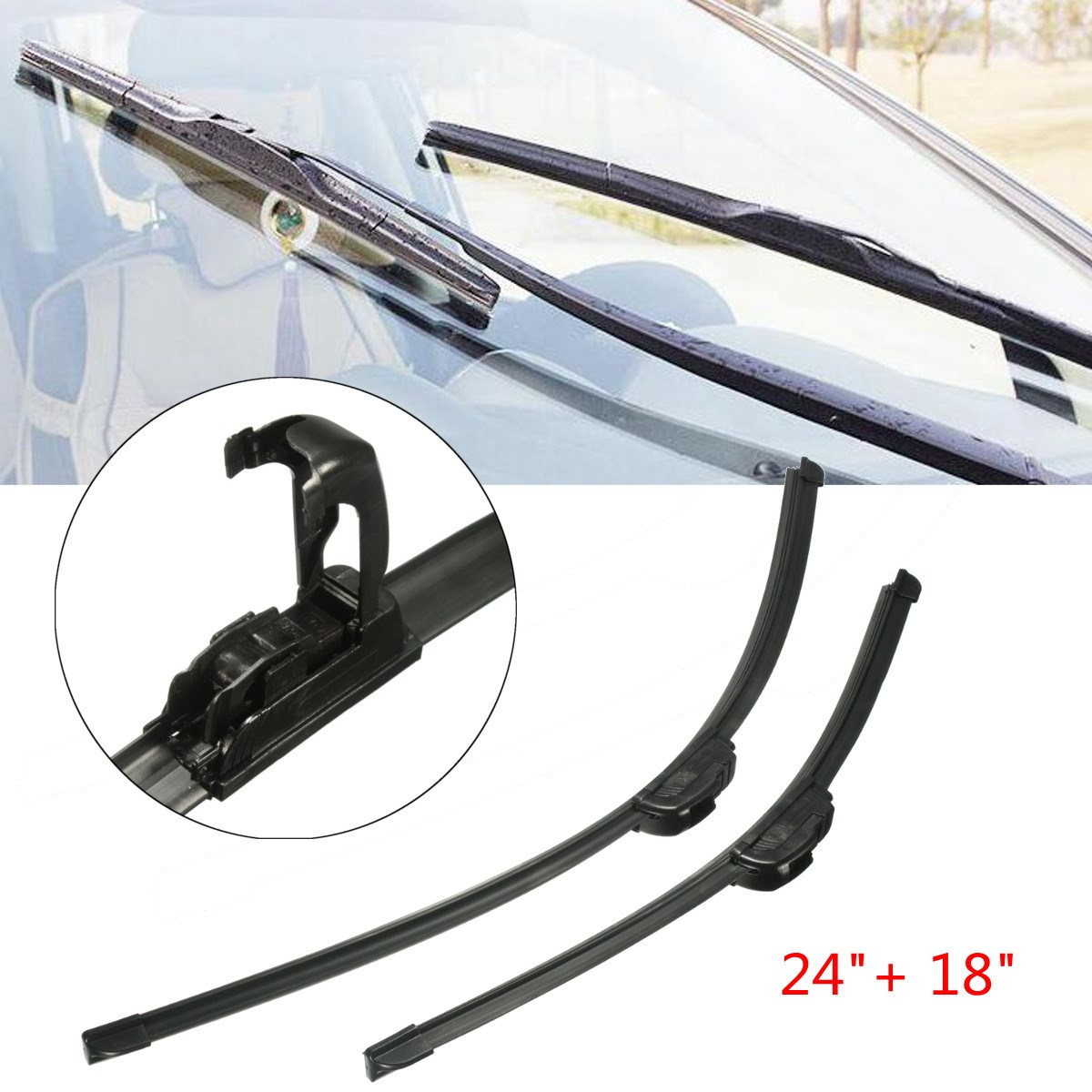 Pair Black Silicone Rubber Universal J Hook Car Windshield Wiper Blade Bracketless