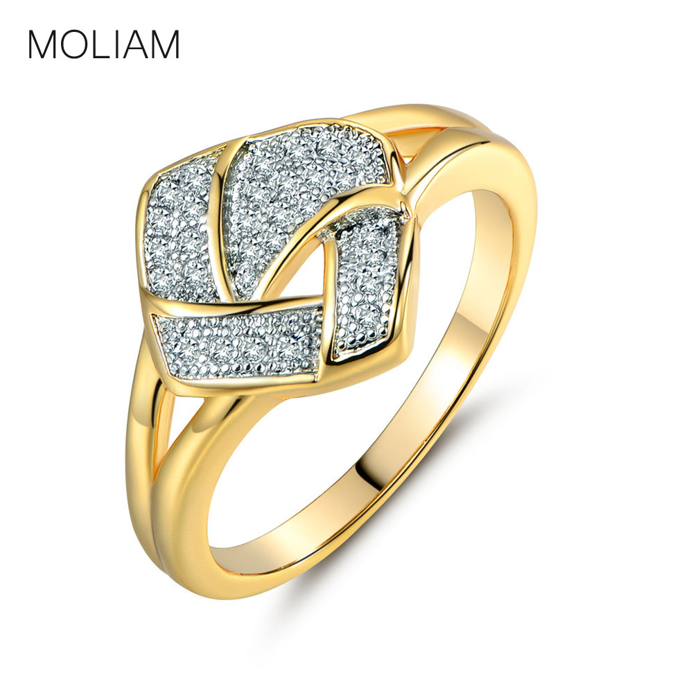 Moliam Fashion Vintage Rings For Women Big Stone Gold Color Pave Crystal Mid Finger