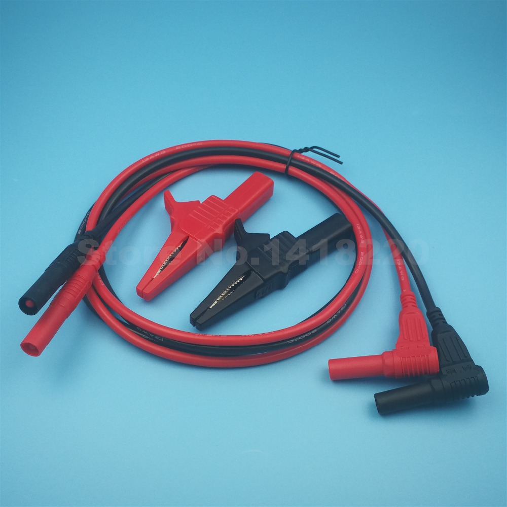 1Set 32A 1000V Alligator Clip Large Crocodile Test Clip CL4262 + Silicone Test Lead 4mm Banana Plug TL22200 Red/Black