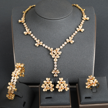 Dazz Elegant Flower Pendant Zircon Necklace Earrings Ring Bangle For Women's Banquet Wedding Luxury Dubai Jewelry Set 2019 Gifts
