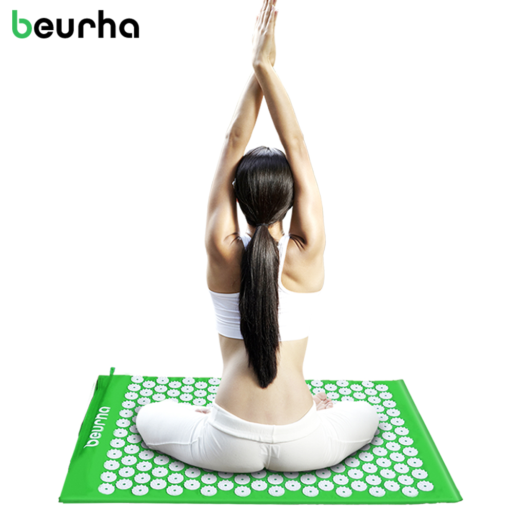 Beurha Yoga Acupressure Mat and Pillow Set Massage Mat Cushion Stress Pain Tension Body Head Back Foot Cushion With Bag Socks