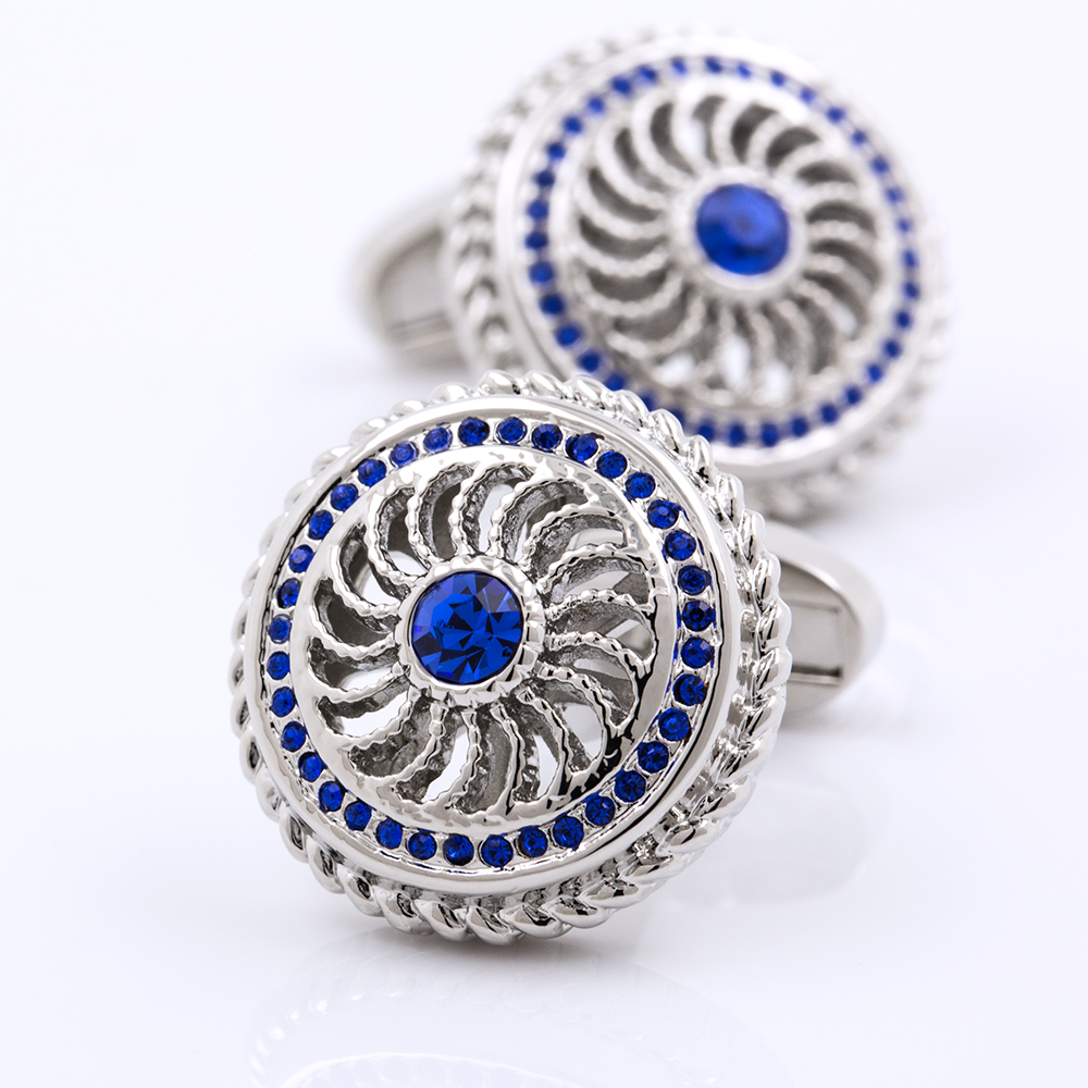 KFLK Jewelry For Men In 2017 Blue Crystal Cufflinks Shirts Cufflinks Button High Quality Brand Luxury Wedding Men Free Shipping