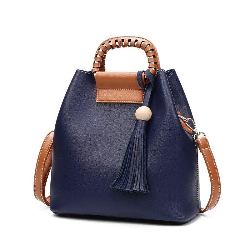 2017 new female bag bucket tassel bag shoulder bag bag