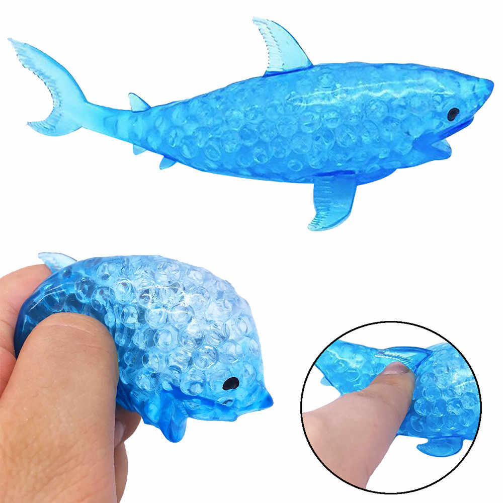 2018 New Spongy Shark Silicone Bead Stress Ball Toy Squeezable Squishies Toy Stress Relief Toy Perfect gift for your friends 30