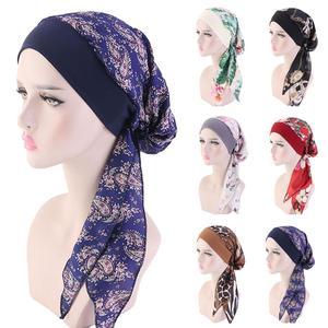 Image 1 - נשים מוסלמי חיג אב סרטן חמו כובע פרח הדפסת כובע טורבן כיסוי שיער אובדן ראש צעיף לעטוף מראש קשור בארה ב strech בנדנות