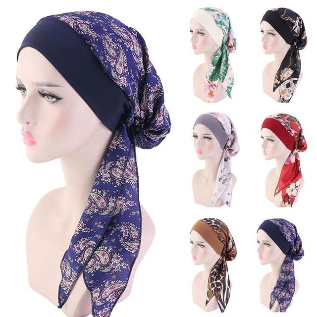 สตรีมุสลิม Hijab มะเร็ง Chemo หมวกดอกไม้พิมพ์หมวกผ้าโพกศีรษะผมหัวผ้าพันคอผ้าพันคอ Pre Tied Headwear ยืด Bandanas