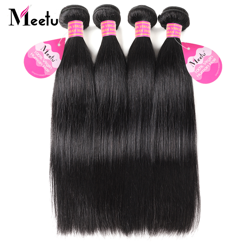 Meetu Indian Hair Bundles Straight Human Hair Extensions 1PC Non Remy Hair Double Weft Natural Black Hair Bundles Free Shipping