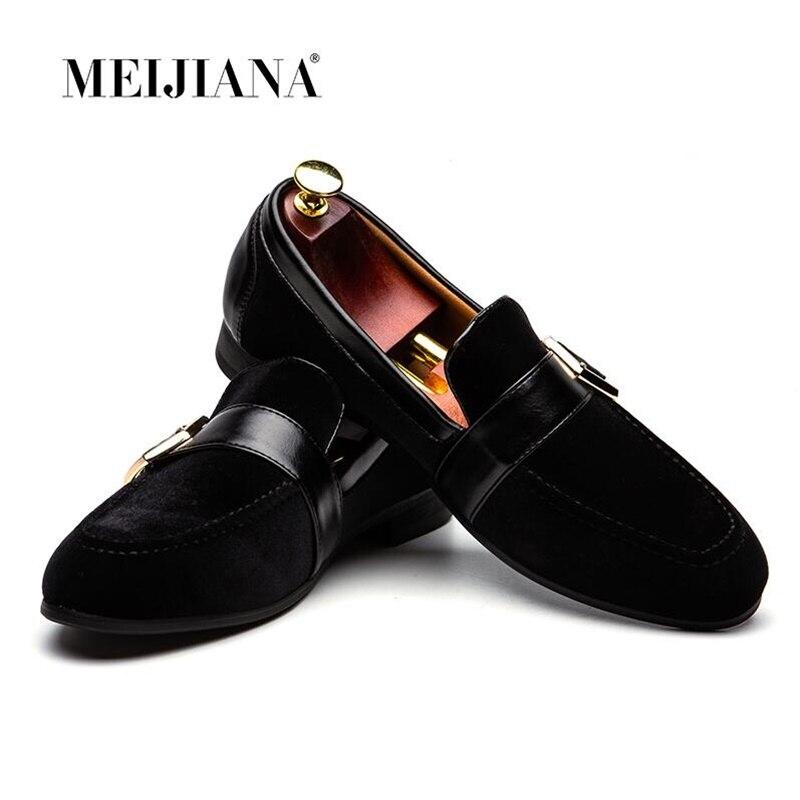 MEIJIANA/черная бархатная Мужская обувь; Летние мокасины без застежки для вождения; мужские лоферы; тапочек ручной работы; мужская повседневная