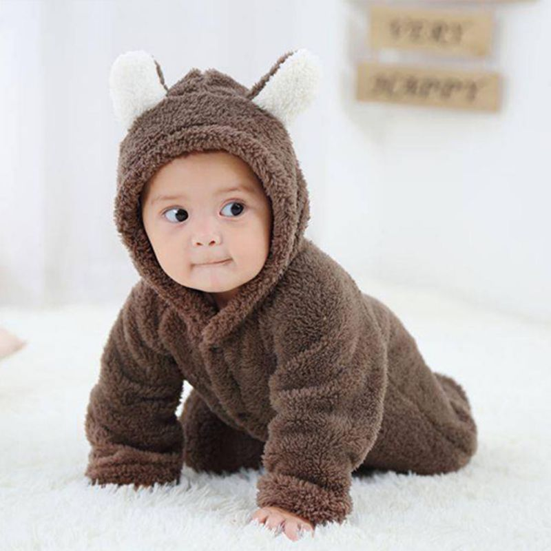 WEIXINBUY Coral Fleece Newborn Babys Sets Romper Costume Clothes Animal Overall Girl Boy Winter Warm Long Sleeve Baby Jumpsuit