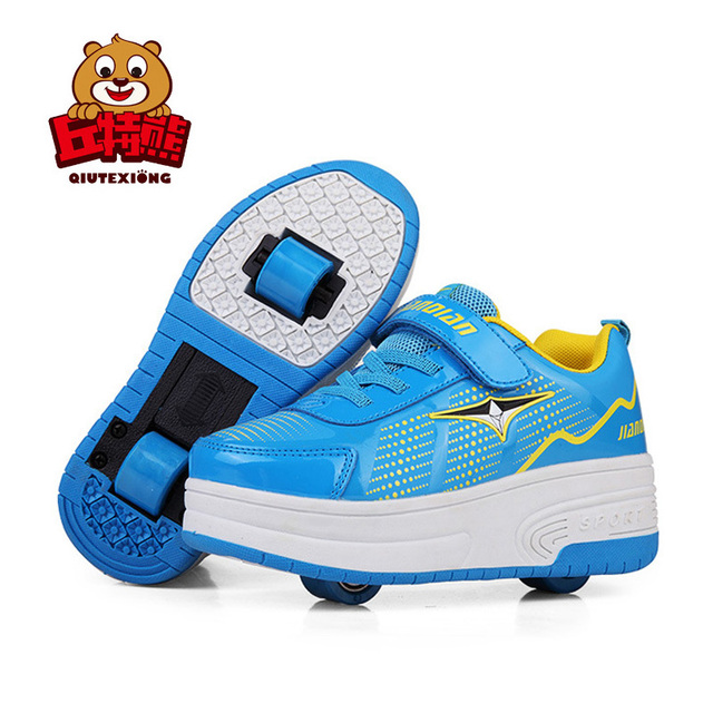 7b4d0c98f Kids Roller Shoes Teenage Sneakers 2018 Girls Wheeled Shoes Leather ...