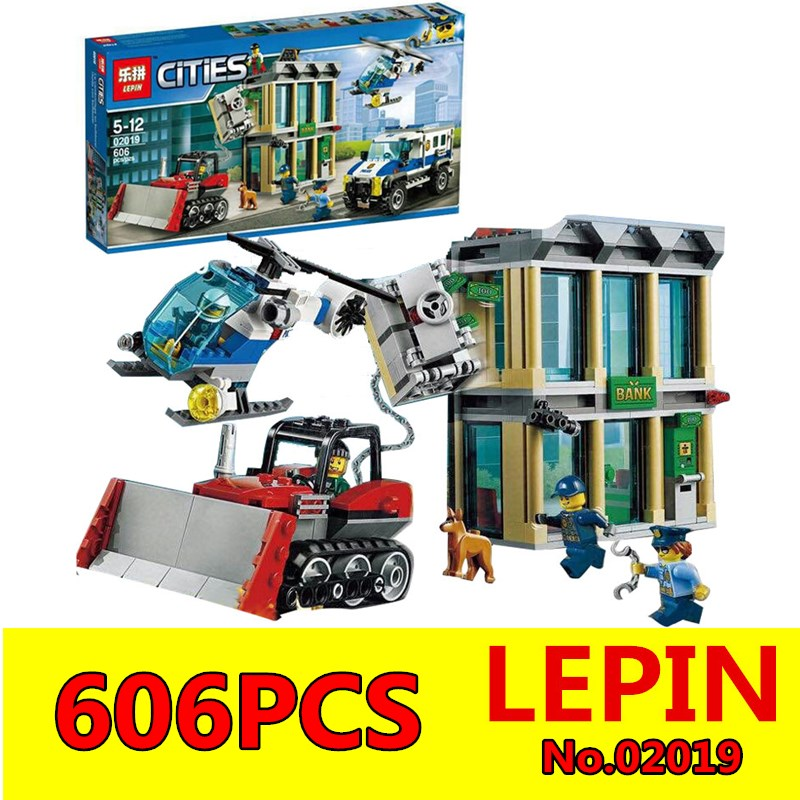 Bulldozer Break-in set Building Blocks LEPIN 02019 606Pcs City Series Children Educational Bricks Boy Toys Model Gift 60140 lepin 02012 city deepwater exploration vessel 60095 building blocks policeman toys children compatible with lego gift kid sets