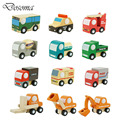 12pcs/lot Wooden Car Educational Toys Baby Kids Boy Toys Wheel Rotatable Cars Models Toys Simulate Mini Automobiles for Children