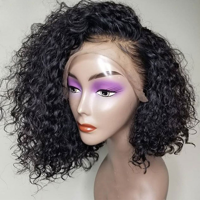 13x6 Short Bob Lace Front Wigs Curly Human Hair Wig For Women Black 180 Density Pre