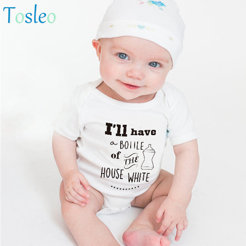 2018 Baby Bodysuit White Baby Girl Clothes Summer Funny Letter Printed Baby Bodysuit New Born Clothes Toddler Costumes