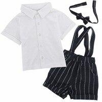 Baby Boy Gentleman Clothing Set Newborn Infant 2pcs Short Sleeve T Shirt Suspenders Gentleman Suit Summer