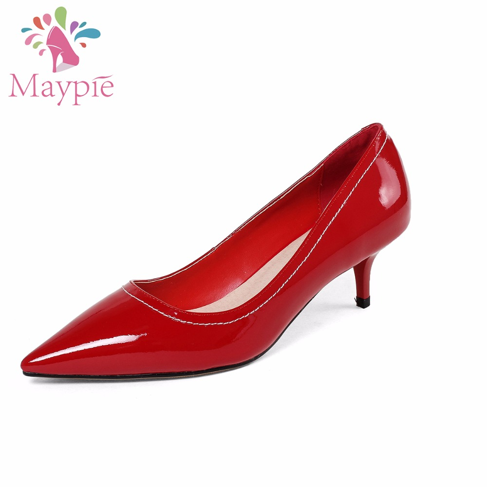MAYPIE Shoes Woman Genuine Leather High Heels Pumps 2018 Ladies Red Wedding  Shoe Pointed Toe Scarpin Fashion Thin Wine Heel 70fa971c3d83