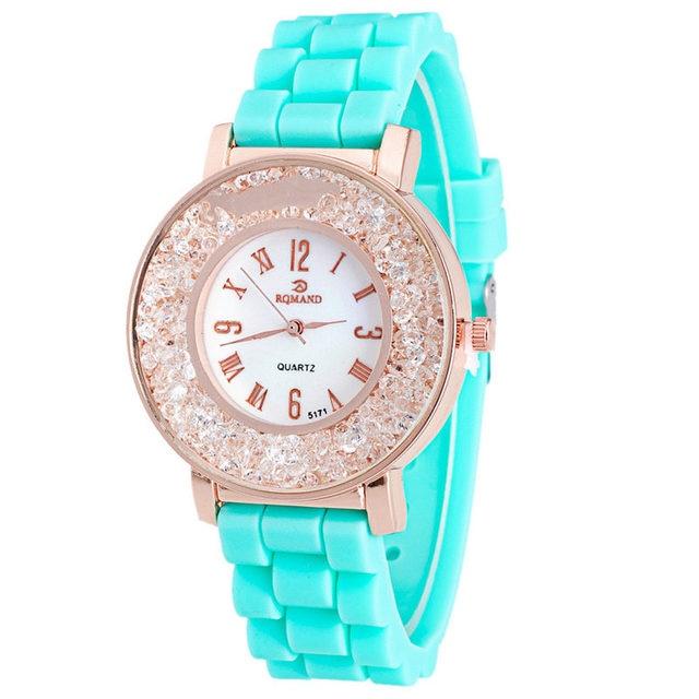 Newest 5 colors Silicone Rhinestone Rhinestone Quartz Bracelet Watch Watch for w