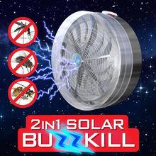 Summer Solar Powered Mosquito Killer Light Lamp Buzz UV Fly Insect Bug Kill Zapper Indoor Outdoor