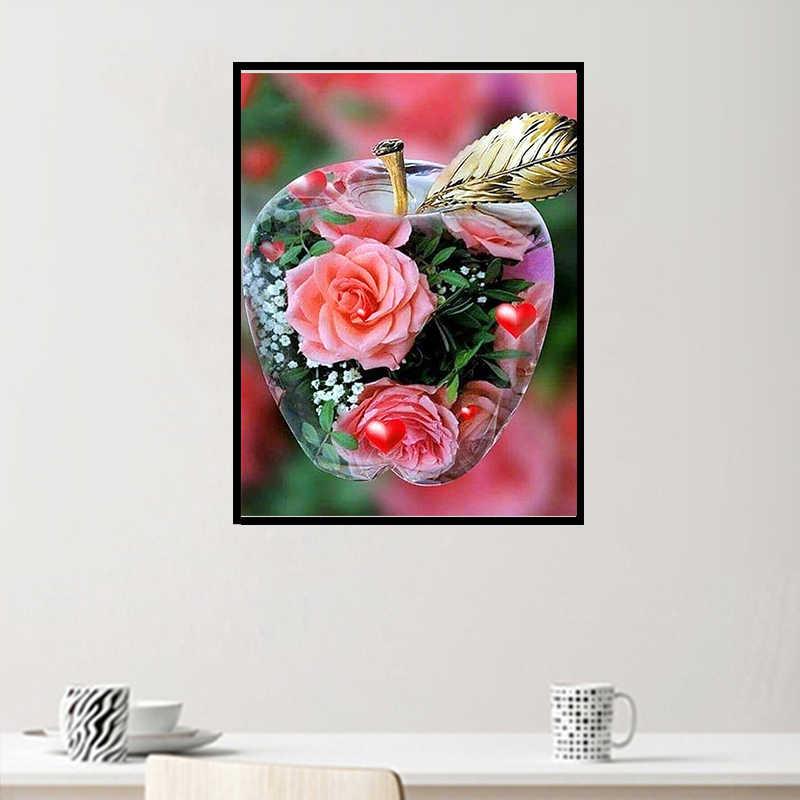 Meian plein forage diamant broderie fleur en pomme cristal mosaïque 5D bricolage diamant peinture point de croix scénique décor à la maison 2019