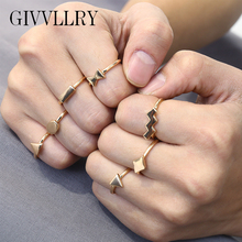 GIVVLLRY 7 pcs/set Vintage Geometric Rings Set for Women Minimalist Creative Gold Silver Color Knuckle Party Midi Rings Jewelry