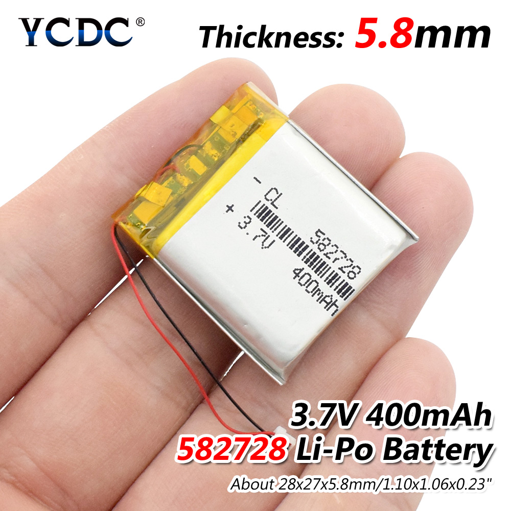 3.7V 400mAh 582728 Lithium Polymer Li-Po li ion Rechargeable Battery Lipo cells For Bluetooth speaker PDA notebook GPS 10 pcs lot 582728 3 7v 400mah lithium polymer battery with protection board for pda tablet pcs digital products 3 7 v 400 mah