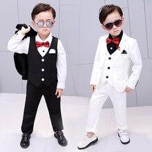 Г. Брендовые костюмы для мальчиков с цветочным рисунком торжественный Детский костюм на свадьбу платье-смокинг вечерние костюмы, жилет брюки, пальто, костюмы для церемонии, От 2 до 12 лет