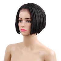 DELICE 6inch Women Synthetic Lace Front Bob Short Wig Baby hair African American Braided Box Braids Wigs Ombre Blonde/Black/Burg
