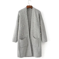 Knit Cardigan Sweater Winter Women Pearl Decoration Double Pocket Long Casual Women'S Loose Sweater Cardigan Vintage Fashion New
