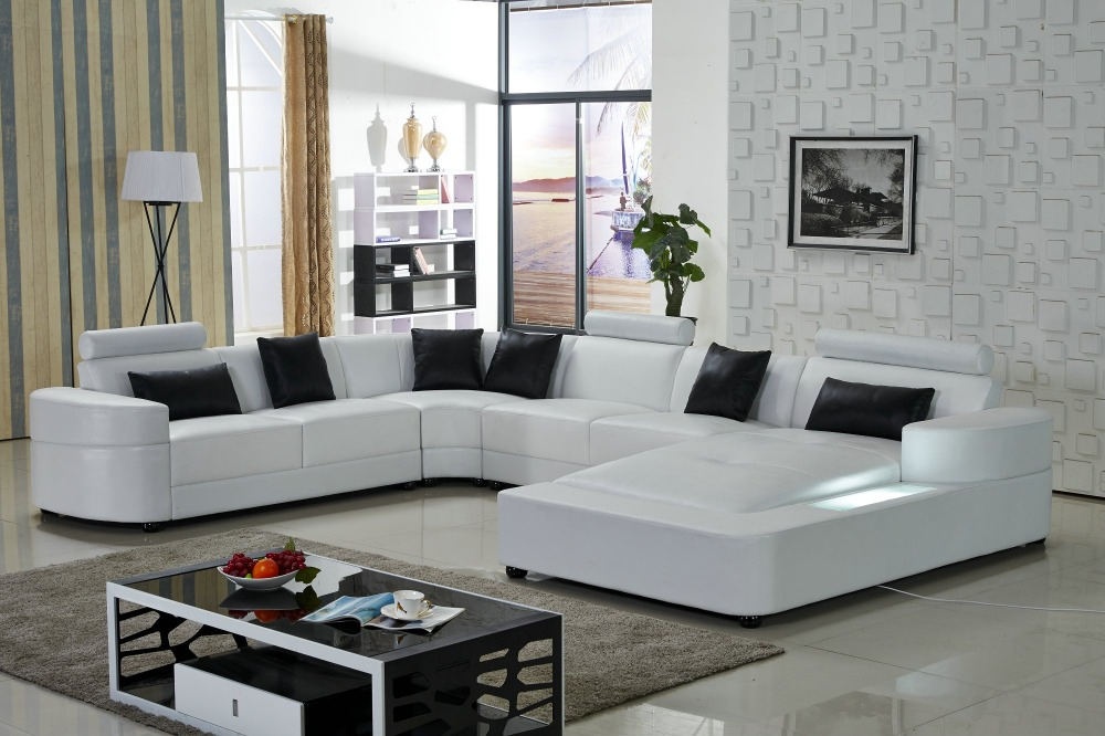 Lizz White Modular Lounge And Sofa U Shaped Leather With Led
