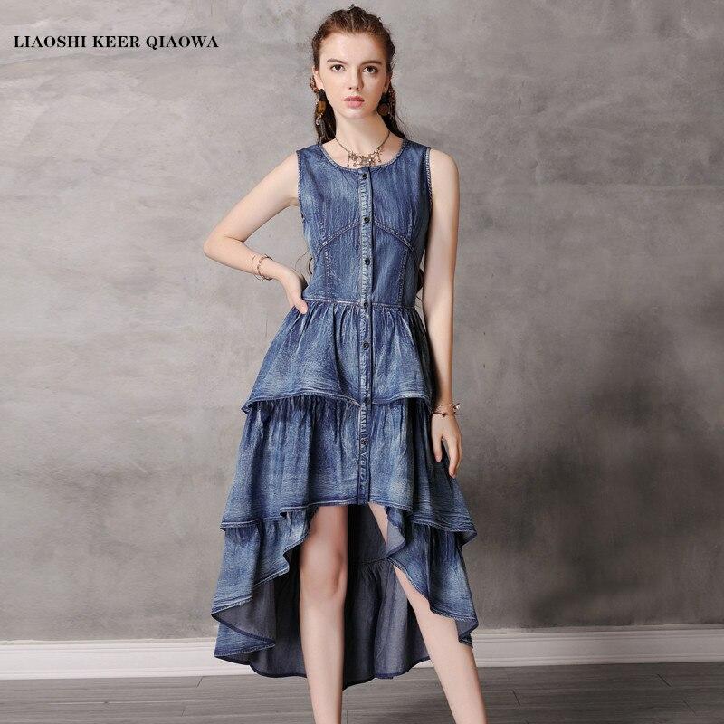 Brand women s Dress 2019 Summer New vest irregular Long Dress Retro Ruffle Dress Student Sweet