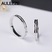 AULEEZE Unique Design Lovers 18K Yellow Gold Couple Ring Real Natural Diamond Wedding Bands For Men and Women Jewelry