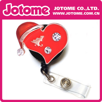 20pcs/lot Costume Jewelry Crystal Red Heart with Christams Hat Brooch/Button/Pendant Retractable Badge Reel/ ID Badge Holder