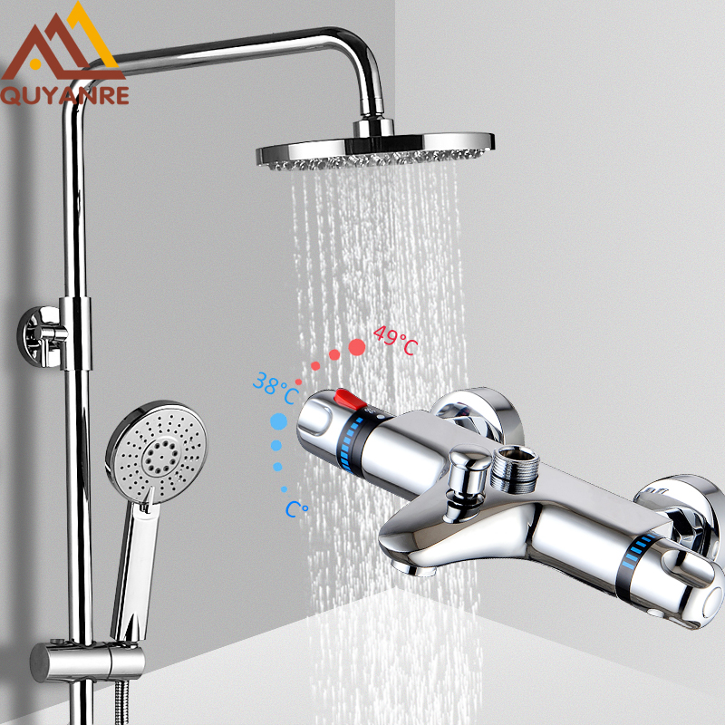 Quyanre Chrome Thermostatic Shower Faucet Bathroom Bathtub Thermostatic Shower Dual Handles Hot Cold Water Tap Tub Spout Shower