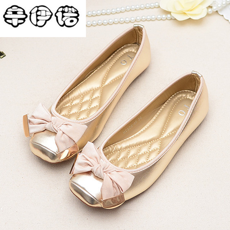 2018 Spring European and American style bow square head women shoes shallow mouth big yards flat flat shoes black shoes Peas 42 2017 the new european american fashion horn bow pointed mouth shallow comfortable flat sheet metal red shoes tide size 35 41